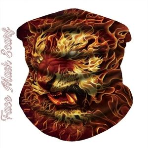 Unisex Face Mask Scarf Flames of Fire Tiger Red